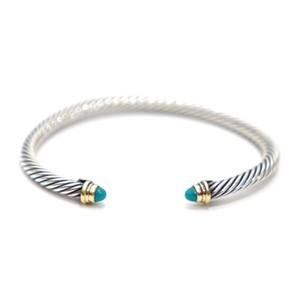 David Yurman Turquoise Sterling Silver Gold 3mm Cable Bracelet