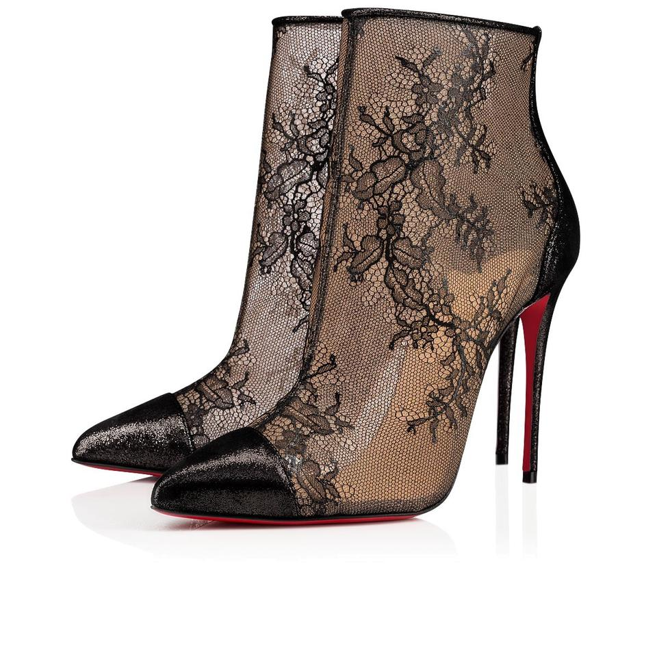 06331f8190e Christian Louboutin Black Gipsybootie Spc 100 Lace Mesh Stiletto Ankle Heel  Pointed Boots/Booties Size EU 37.5 (Approx. US 7.5) Regular (M, B)