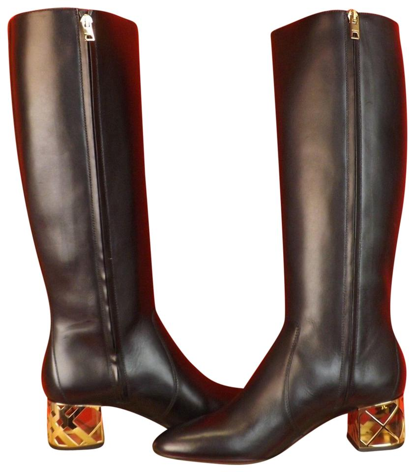 dcedea309a095 Burberry Black Cranham Leather Zip Gold Cage Lucite Heel Tall Boots ...