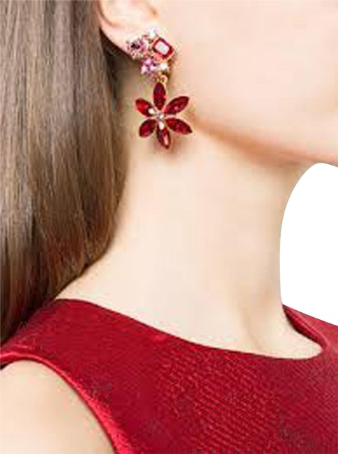 Item - Red Signed Crystal Flower Clip On Earrings