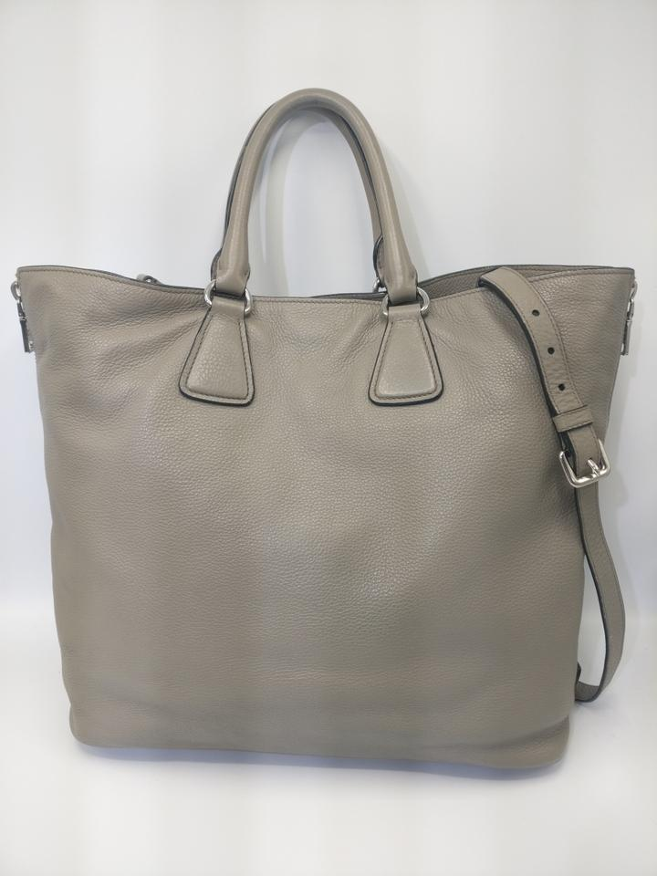 9754daf42227 Prada Vitello Daino 2015 Large Zippers Tote Gray Leather Cross Body Bag -  Tradesy