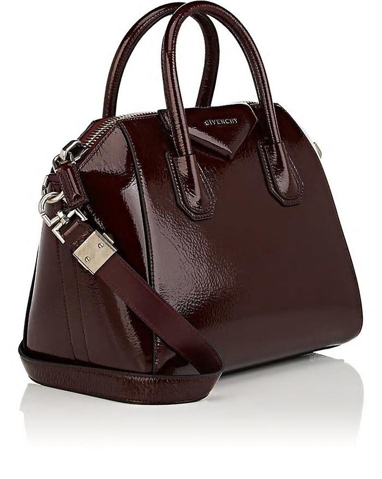 Givenchy Antigona Small Creased Patent-leather Satchel Aubergine ... a3ac9bb4c2ffc