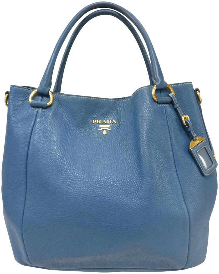 8091b02aa7444b Prada Vitello Daino Shoulder Tote Blue Leather Hobo Bag - Tradesy