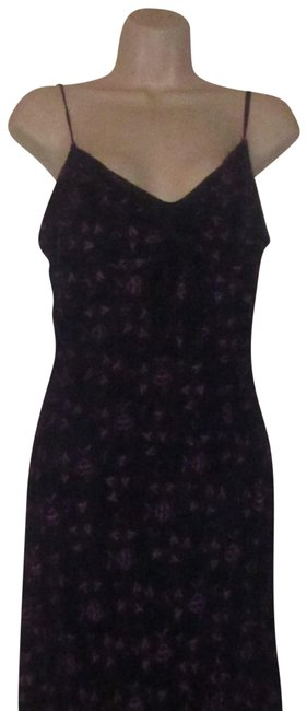 Item - Navy Blue with Hand-stitched Purple Floral Design and Dangling Beaded Trim Clothes/Designer Clothes Mid-length Night Out Dress Size 12 (L)
