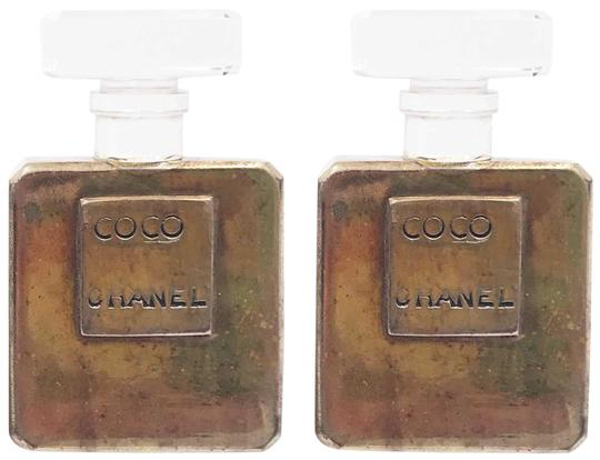 Chanel Gold Clear Perfume Bottle Large Clip On As Seen On Miley Cyrus Earrings Tradesy