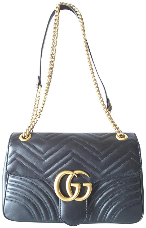 18b6ee999697 Gucci Marmont New Gg 2.0 Medium Quilted Black Leather Shoulder Bag ...