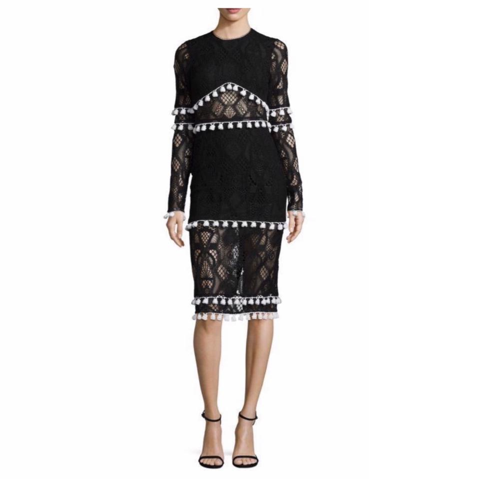 0abbeb1f87ae Alexis Black White Lace and Tassel Mid-length Cocktail Dress Size 12 ...