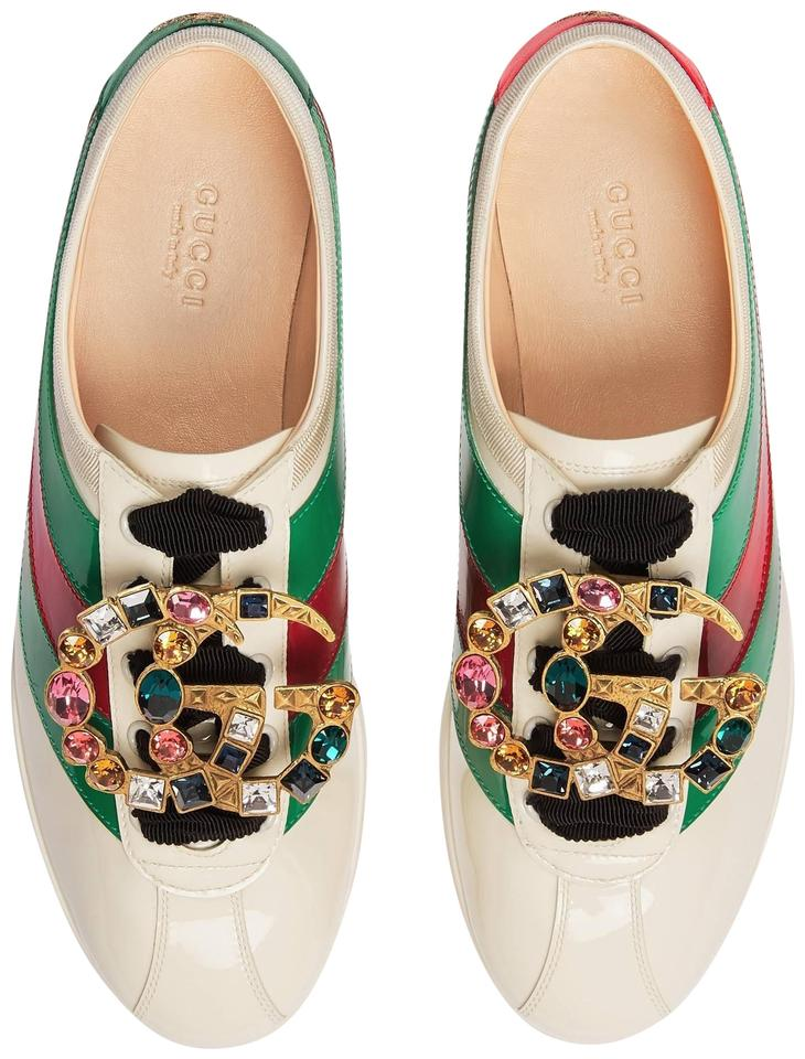 4d464c9b1a9b Gucci White Green Red Falacer Patent Leather Sneaker with Web Trainer  Sneakers. Size  EU 37 ...