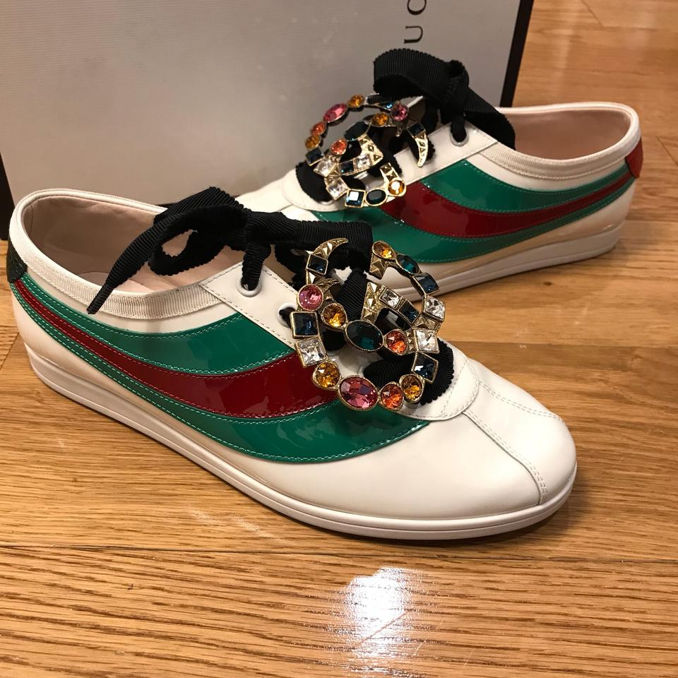 02c292642 Gucci White Green Red Falacer Patent Leather with Web Trainer ...