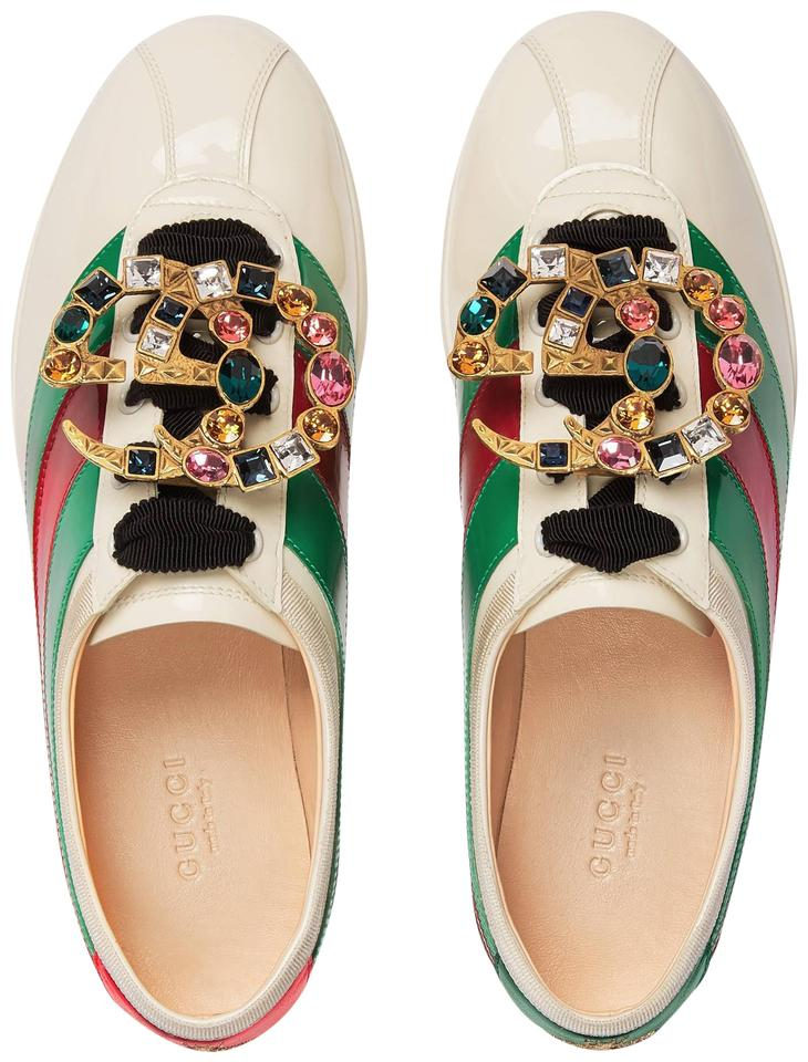 4912b76be Gucci Sneakers Trainer Falacer Crystal Vernice White Green Red Athletic  Image 0 ...