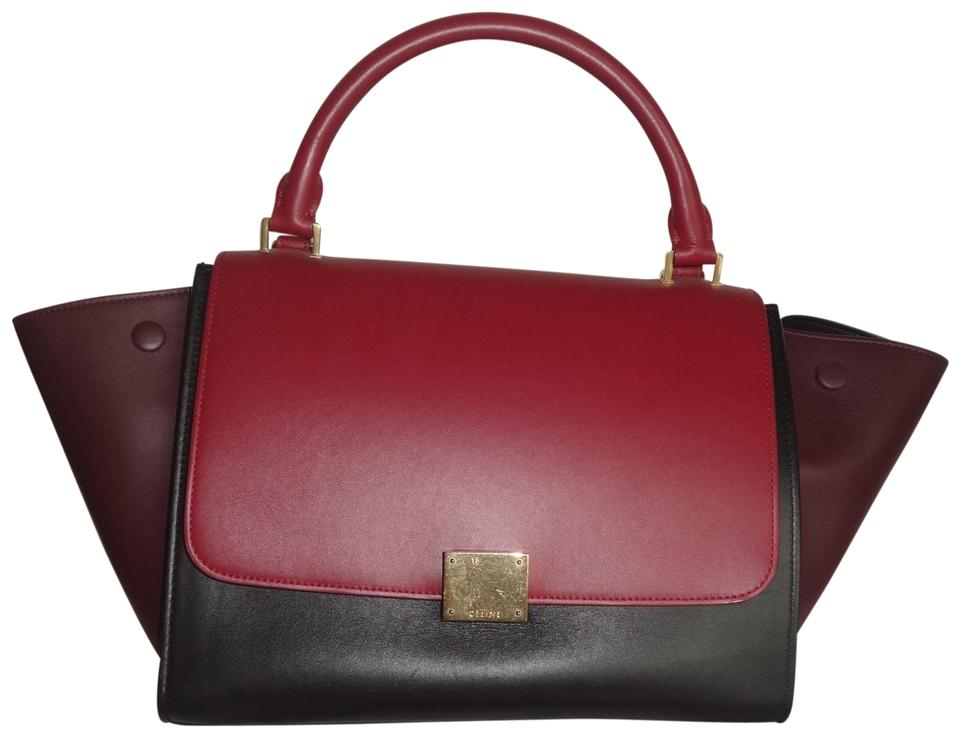 3f40d4bc40cc Céline Trapeze Tri-color Bag W Long Strap Red Black Brown Leather ...