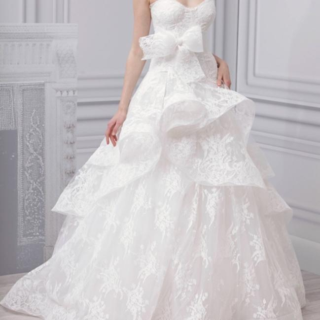 Item - White Chantilly Lace Belle Feminine Wedding Dress Size 8 (M)