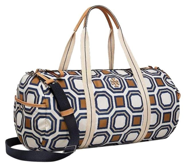 Item - Printed Octagon Ivory/Multi Nylon/Leather/Twill Weekend/Travel Bag