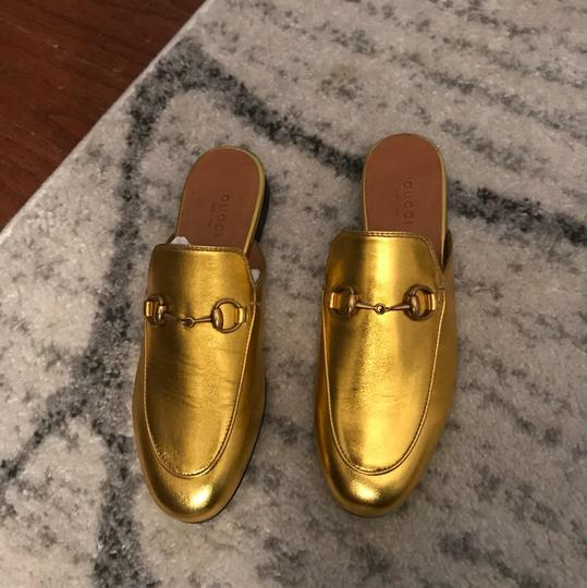 Gucci Leather Flats Gold Mules