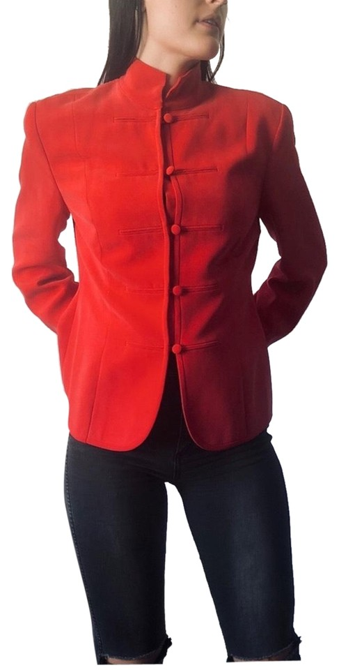 91c5d325dfdb4 Magaschoni Red Vintage Tracy Reese For Silk Military Blazer. Size  10 ...