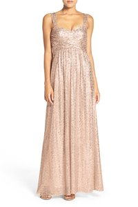 Amsale Rose Gold Sequins G974q Feminine Bridesmaid/Mob Dress Size 6 (S)