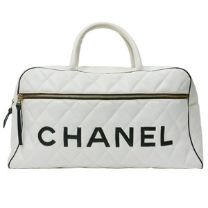 Chanel Vintage Luggage Duffle Calfskin White Travel Bag