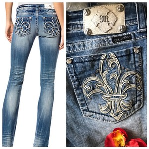 9a04ae9928d Miss Me Blue Medium Wash Fleur De Lis Boot Cut Jeans Size 8 (M, 29 ...