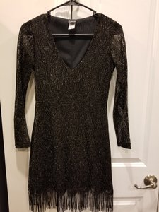 Frederick's of Hollywood Mini Shimmer Frills V-neck Lace Dress