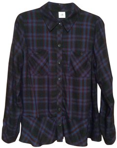 CAbi Ruffle Execellent Codition Button Down Shirt Multi-colored Plaid, Navy, Black, maroon