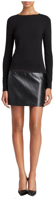 Item - Black Jersey Faux Leather Skirt Cowl Neck Mini Style No. Cd3a2f09 Short Night Out Dress Size 10 (M)