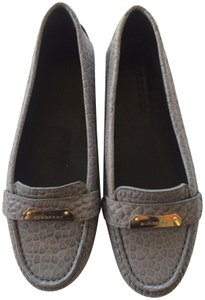 Burberry Leather Crocodile Loafers gray Flats