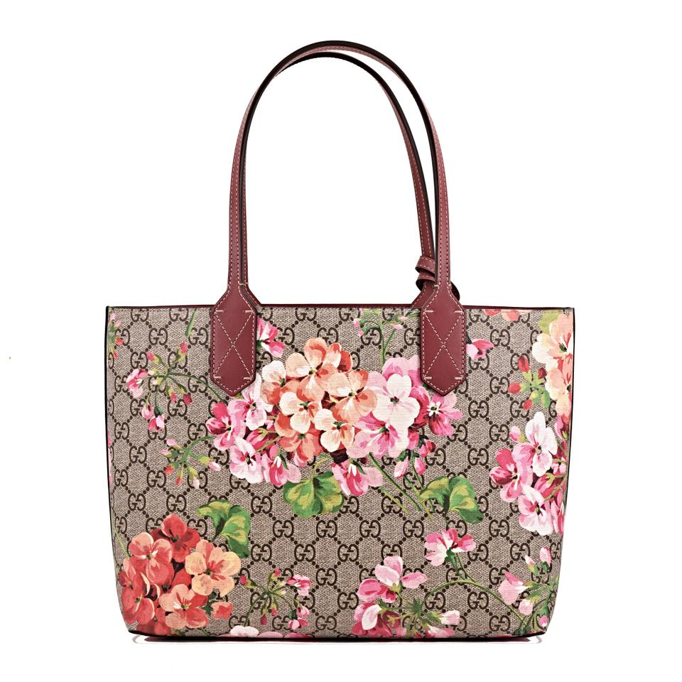 e6c77ffb0 Gucci Gg Blooms Medium Reversible Pink Rose Supreme Canvas/ Leather ...