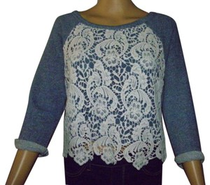 Ambiance Cropped Tops Lace Tops T Shirt heathered blue