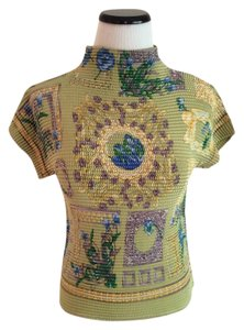 Asian Inspired Beaded Top Green multi