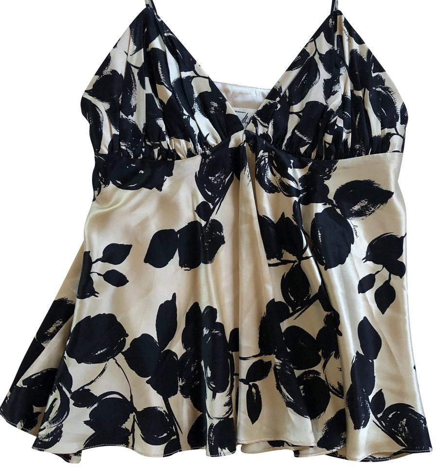 366ddebcda1ec0 Milly of New York Black and Tan Floral Silk Camisole Tank Top Cami ...