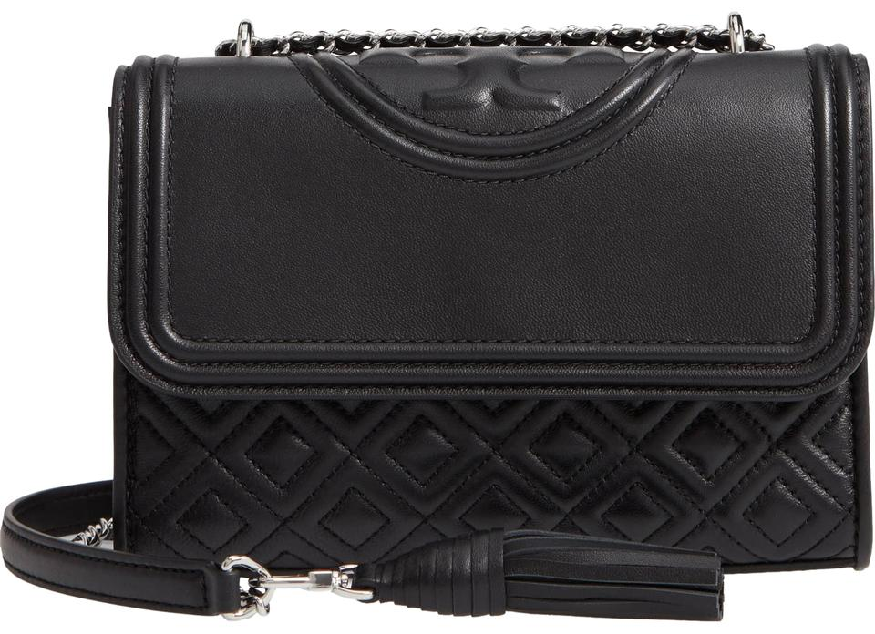 c266163a6a6 Tory Burch Fleming Medium Convertible Black Lambskin Leather Shoulder Bag