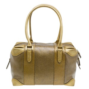 Fendi Leather Fabric Pebbled Satchel in Gold