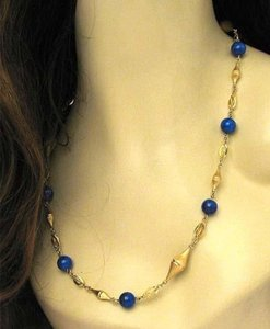 Modern Vintage Lapis Bead Fancy Textured 14k Yellow Gold Link Necklace