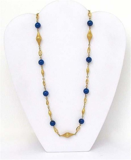 Modern Vintage Lapis Bead Fancy Textured 14k Yellow Gold Link Necklace Image 1