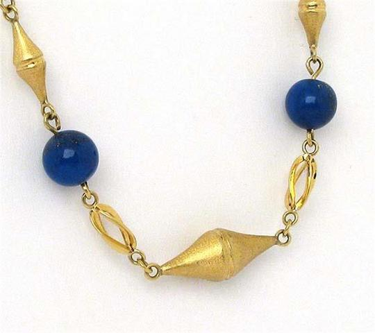 Modern Vintage Lapis Bead Fancy Textured 14k Yellow Gold Link Necklace Image 2