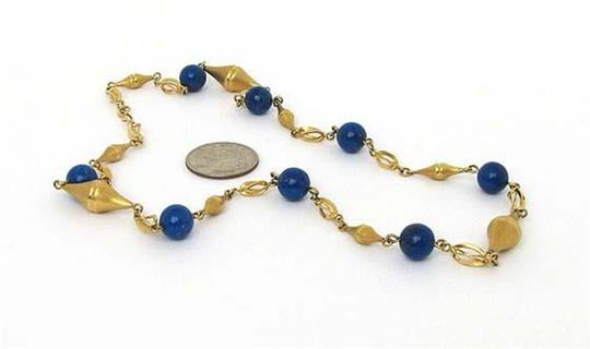 Modern Vintage Lapis Bead Fancy Textured 14k Yellow Gold Link Necklace Image 3