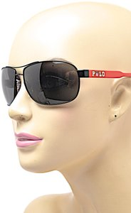 Polo Ralph Lauren RALPH LAUREN Black POLO Sunglasses Red Temple Arm Nose Pads Box