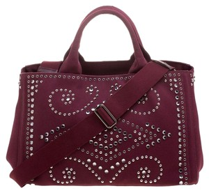 Prada Canvas Embellished Crystal Tote in Burgundy