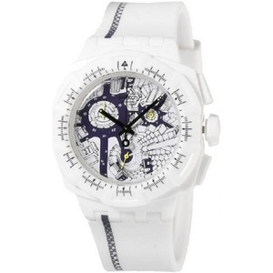 Swatch SUIW408 Men's White Rubber Band With Multicolor Analog Dial Watch
