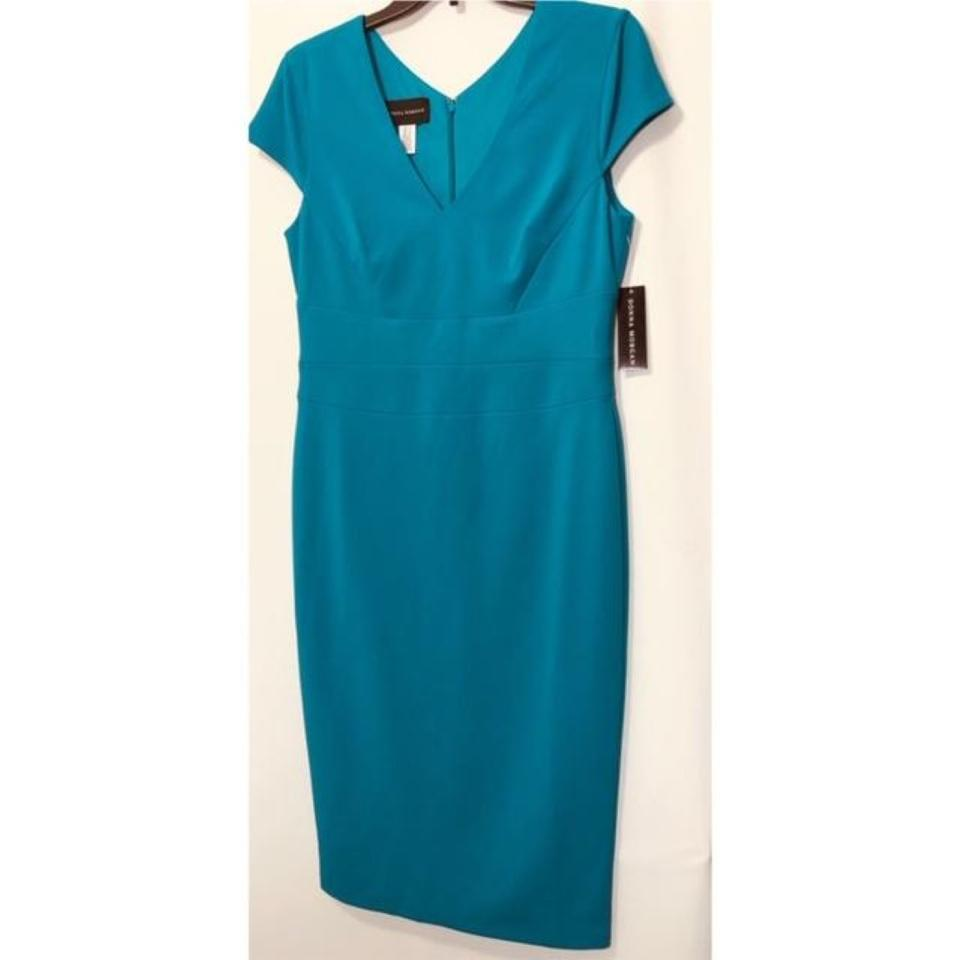 870e1ea8 Donna Morgan Midi Cap Sleeve Sheath Teal V-neck Dress Image 8. 123456789