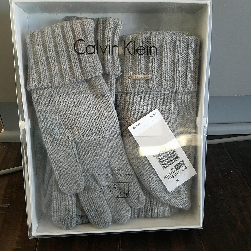 60230bfa0d1 Calvin Klein Grey 3 Piece Set  Hat Mittens And Scarf Wrap - Tradesy