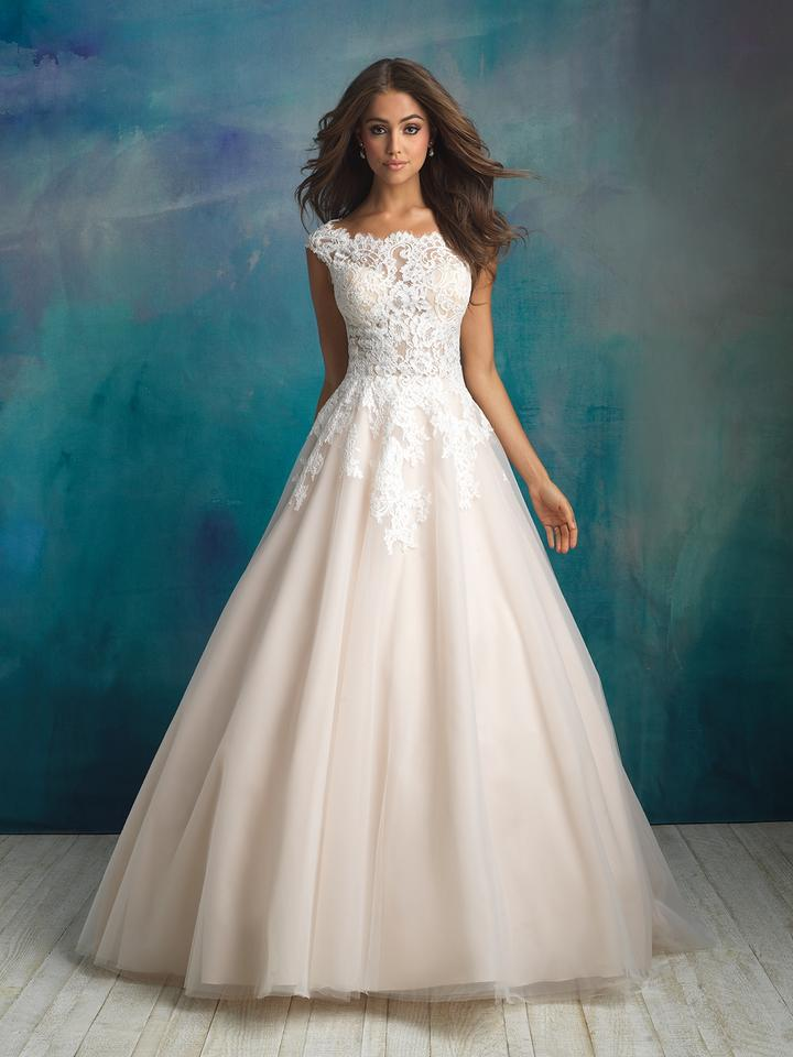 Allure Bridals Ivory/Nude Lace 9520l By Feminine Wedding Dress Size ...