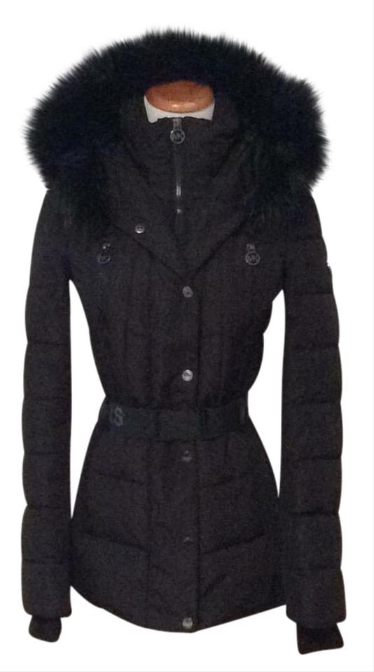 a5ebc657d Michael Kors Black Fans Fur Trimmed Belted Puffer Jacket Coat Size 2 (XS)  22% off retail