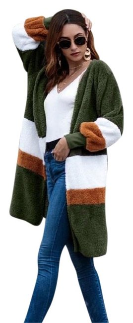 Item - Green White & Cognac Cute Color Block Fuzzy Open Jacket Coat Size 14 (L)