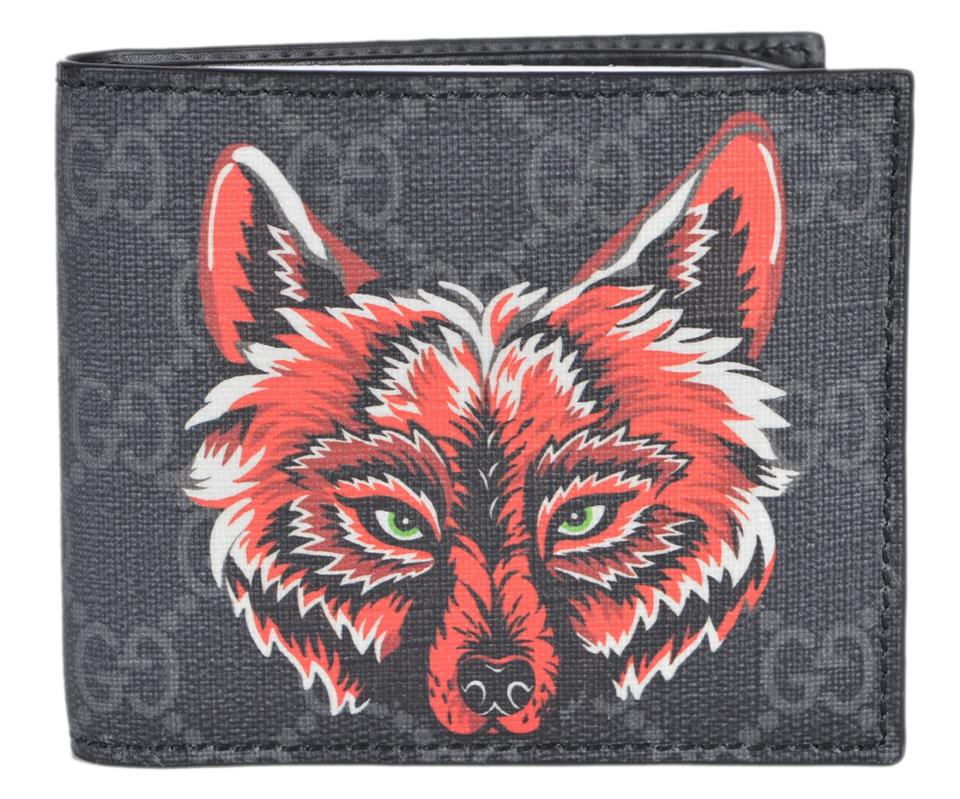 44533230a2e3aa Gucci NEW Gucci Men's Black Grey GG Supreme Canvas Wolf Logo Bifold Wallet  Image 0 ...