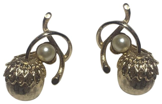 Item - Gold Vintage Pearl Acorn Earrings