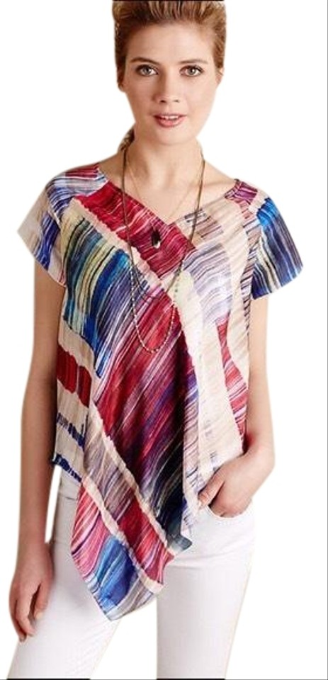 9e5df8912981 Anthropologie Blue Red White Painted Plaid Tee Tunic Size 12 (L ...