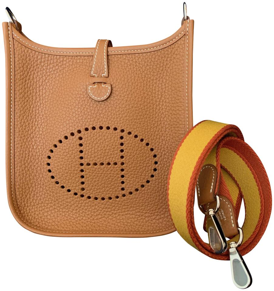 d573322e85a6 Hermès Evelyne 16cm Tpm Mini Gold (Brown) Clemence Leather Cross Body Bag