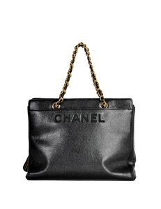 f1d884905057 Chanel Deauville 2018 Caviar Studded Small Black Gold Leather Tote ...