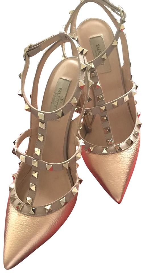 b7ed8bc06cb Valentino Rose Gold Nude Straps and Gold Studs Rock Pumps Size EU 40 ...
